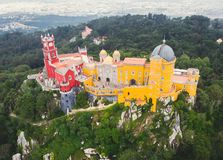 The Pena Palace, a Romanticist castle in the municipality of Sintra, Portugal, Lisbon district, Grande Lisboa, aerial view, shot stock photography