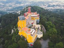 The Pena Palace, a Romanticist castle in the municipality of Sintra, Portugal, Lisbon district, Grande Lisboa, aerial view, shot stock images