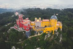 The Pena Palace, a Romanticist castle in the municipality of Sintra, Portugal, Lisbon district, Grande Lisboa, aerial view, shot royalty free stock images