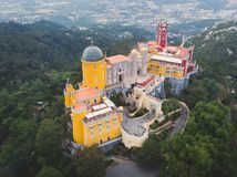 The Pena Palace, a Romanticist castle in the municipality of Sintra, Portugal, Lisbon district, Grande Lisboa, aerial view, shot royalty free stock photos