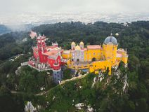 The Pena Palace, a Romanticist castle in the municipality of Sintra, Portugal, Lisbon district, Grande Lisboa, aerial view, shot royalty free stock photo