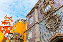 The Pena Palace is a Romanticist castle in Sintra, portugal. The Royal Palace of Pena, or `Castelo da Pena` as it is more commonly known, Portugal, Sintra Stock Photo