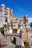 Pena Palace in Sintra. View of the beautiful of Pena palace in the national park of the Sintra hills in Portugal Royalty Free Stock Images