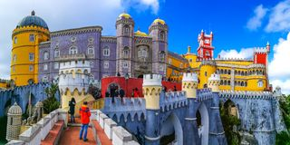 Pena Palace, Sintra, Portugal. Closeup view of the historical and colorful Pena Palace of Sintra, Portugal Royalty Free Stock Photos