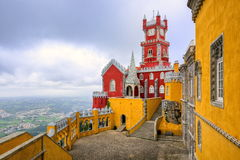 Pena Palace, Sintra, Portugal. Famous royal palace built in the XIX century in neo gothic and moorish style Royalty Free Stock Image