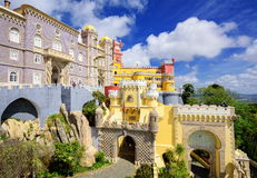 Pena Palace, Sintra, Portugal. Famous royal palace built in the XIX century in neo gothic and moorish style Stock Photography