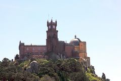 Pena Palace on the top of hill in Sintra mountains in Sintra stock photos