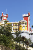 Pena palace towers. View of the beautiful of Pena palace in the national park of the Sintra hills in Portugal Royalty Free Stock Image