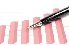 Pena sobre o gráfico Fotografia de Stock