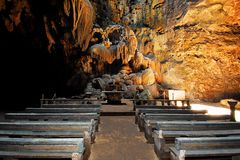 Callao Cave with a chapel built in the first chamber royalty free stock photos