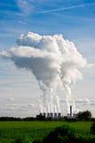 Penachos del vapor que suben de la central eléctrica de Drax Imagenes de archivo