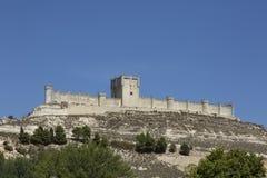 Penafiel城堡在巴里阿多里德,西班牙 库存照片