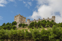 Penafiel castle. Detailed view of the castle of Penafiel. Valladolid, Ribera del Duero, Castilla y Leon, Spain Royalty Free Stock Photos