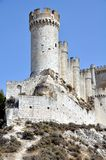 Penafiel Castle (Vertical). Penafiel Castle, Valladolid, Spain created in the 10th century and located at the Hill. Close view of the main Tower Stock Photos