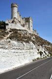 Penafiel Castle (Vertical) with road. Penafiel Castle, Valladolid, Spain created in the 10th century and located at the Hill Stock Images