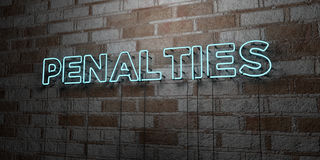 PENALTIES - Glowing Neon Sign on stonework wall - 3D rendered royalty free stock illustration Royalty Free Stock Photography