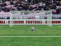 Penalty. Virtual view of a soccer stadium before penalty - digital artwork Royalty Free Stock Image