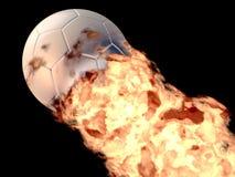 Penalty. 3D Soccer ball flames image Stock Photos