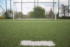 Penalty area on football court. Penalty area and white line on football court Stock Photography