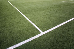 Penalty area marking on soccer field Stock Photos