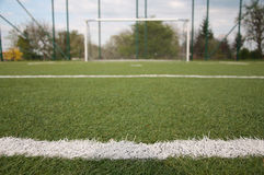 Penalty area on soccer court Royalty Free Stock Image
