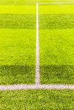 Penaty area, white lines of the artificial practice football field. Penalty area, white lines of the artificial practice football field in urban, daytime Royalty Free Stock Photography