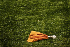 Penalty flag on pitch Stock Photography