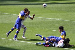 Penalty foul in Emirates Cup. A penalty foul in Boca Juniors box in the game against PSG (0-3) during the 2011 edition of Emirates Cup Royalty Free Stock Image