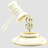 Penalty: gavel breaking dollar sign Stock Images
