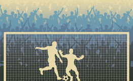 Penalty kick. Editable illustration of a cheering crowd watching a penalty kick in a soccer match stock illustration
