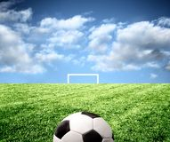 Penalty kick. A soccer ball in the stadium Stock Photo