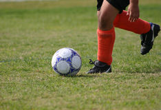 Penalty Kick. Boy about to kick a soccer ball Royalty Free Stock Image
