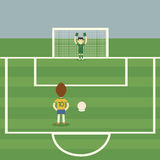 Penalty Kick. Brazil football player Penalty Kick royalty free illustration
