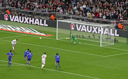 Penalty Kick by Rooney. Penalty kick by Wayne Rooney during the match England-San Marino (5-0), valid for the World Cup Qualification at Wembley Stadium Stock Photo