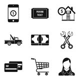 Penalty for parking icons set, simple style Royalty Free Stock Photography