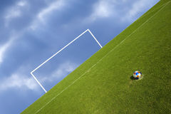 Penalty Shootout. Ball at the penalty point in an abstract composition Royalty Free Stock Photo