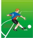 Penalty shot. Football player scoring a penalty shot stock illustration