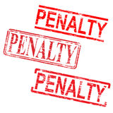 Penalty Stamps. Penalty red rubber stamp grungy vector illustrations royalty free illustration