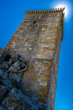 Penamacor Castle. With the sun in the tower's corner Royalty Free Stock Photos