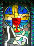 Penance - Confession. Stained glass, church window Stock Photo