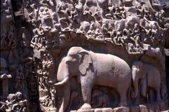Penance de Arjuna, Mamallapuram, Tamil Nadu, la India Imagen de archivo