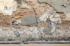 PENANG, ΜΑΛΑΙΣΊΑ, στις 19 Δεκεμβρίου 2017: Διάσημη τοιχογραφία τέχνης οδών σε Georgetwon Στοκ Φωτογραφίες
