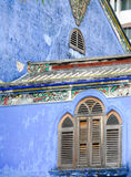 Penang architecture. A historical blue building in Penang, Malaysia Stock Photos