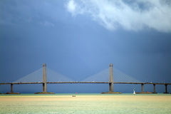 The Penang Bridge, Malaysia is the longest bridge in south east asia.  Stock Photo