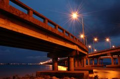 Penang Bridge at Twilight Hour. Moody and symbolic of this wonderfull bridge stock photos