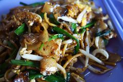 Penang Char Kway Teow Fried Wide Rice Noodles Stock Photography