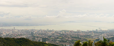 Penang city landscape. Penang city ariel view from top of hill Royalty Free Stock Photo