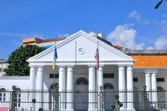 Penang Colonial Architecture - The Town Hall. Beautiful Penang Colonial Architecture building  in Malaysia with blue sky background Royalty Free Stock Photo