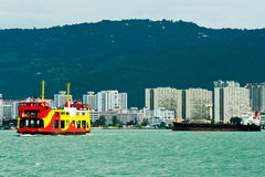 Penang Ferry Service. View of a Penang ferry service heading to Butterworth stock images