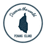 Penang Island map in vintage discover the world. Stock Photo